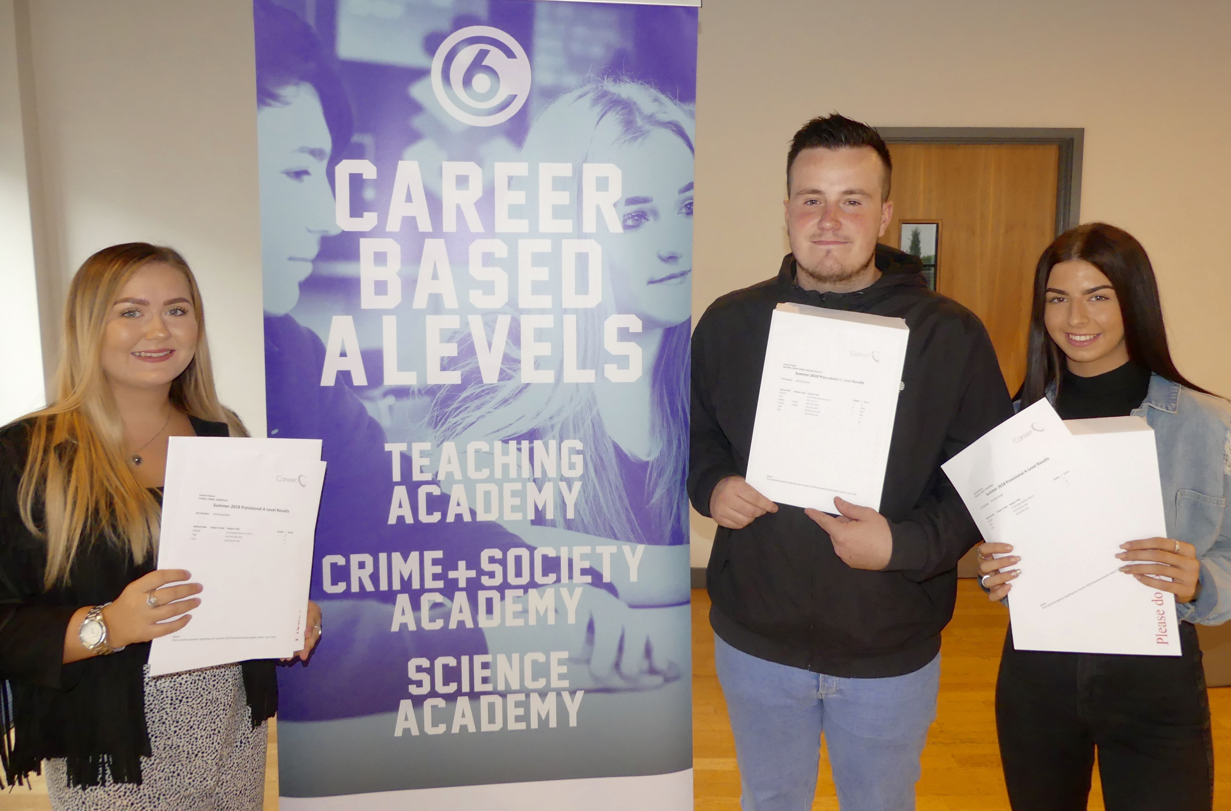 Majority of Career 6 courses achieve 100% A Level pass rate